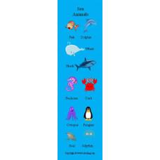 Sea Animals Bookmark - Deniz Hayvanları Kitap Ayracı