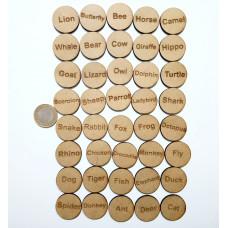 Wodo İngilizce Kelime Oyun Pulları - Animals( Hayvanlar)