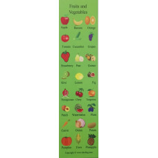 Fruits and Vegetables Bookmark - Meyveler ve Sebzeler Kitap Ayracı
